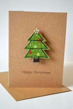 Stitch Galore Handmade Christmas card with a Christmas tree brooch attached. A little gift as well a. Handmade Christmas Tree, Homemade Christmas Cards, Christmas Cards To Make, Christmas Tree Ornaments, Christmas Decorations, Christmas Lights, House Decorations, Christmas Sewing, Christmas Diy