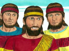 Free Bible illustrations at Free Bible images of Meshach, Shadrach and Abednego refusing to bow down before King Nebuchadnezzar's golden sta...