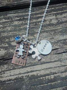 Lil Boy Autism Necklace with Name Pendant Lil by MetallicKreations, $35.00