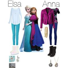 Anna and Elsa outfit Frozen Inspired Outfits, Frozen Outfits, Disney Princess Outfits, Disney Themed Outfits, Disney Inspired Fashion, Character Inspired Outfits, Disney Dresses, Disney Fashion, Casual Disney Outfits