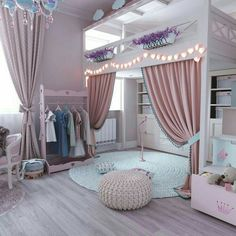Bunk Beds For Girls Room, Bedroom Decor For Teen Girls, Cute Bedroom Ideas, Room Ideas Bedroom, Awesome Bedrooms, Bed Ideas, Cool Girl Rooms, Girls Princess Bedroom, Princess Room Decor