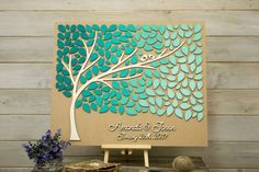 Custom colors 3D Wedding guest book alternative tree wood leaves Rustic wedding guest book Unique guestbook wooden Wedding gift Tree of life