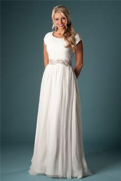 Sheath Scoop Neck Short Sleeve Chiffon Draped Destination Modest Wedding Dress Crystal Sash Button
