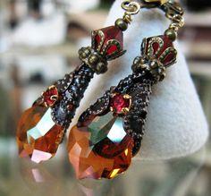Swarovski Ohrringe Chili-Schote Kristall von HisJewelsCreations