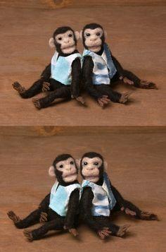 Funny Needle-Felted Miniature Chimpanzees by DinkyWorld on Etsy