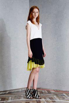 Viktor & Rolf | Resort 2015 | 06 White/black/yellow color block ruffled sleeveless midi dress