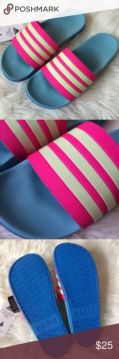 """Blue pink yellow Adilette athelic slide sandal 8 No box. Technically they are kids size 6, but fit women size 8. Colors are hot pink, faded lime green looks yellow, royal blue and baby blue. Length is 10.2"""". Nwt. Soft sole. Flexible Adidas Shoes Sandals"""