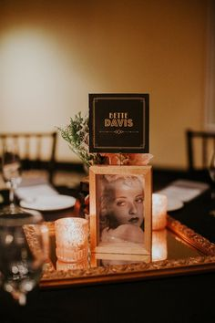 Old Hollywood inspired wedding | Each table an old Hollywood actor or actress.