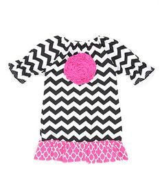 Love this Black & Pink Chevron Rosette Peasant Dress - Toddler & Girls on #zulily! #zulilyfinds http://www.zulily.com/invite/kripley070