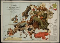 'Angling in Troubled Waters: a Serio-Comic map of Europe', Fred W Rose, 1899