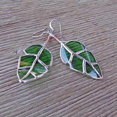 Elm Leaf Earrings  Recycled Green Glass  by westernartglass