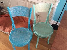 Two Thonet café chairs. Decorated by me