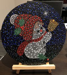 Christmas Canvas Art, Painted Christmas Cards, Christmas Ornament Crafts, Christmas Paintings, Christmas Crafts For Kids, Dot Art Painting, Mandala Painting, Mandela Rock Painting, Christmas Mandala
