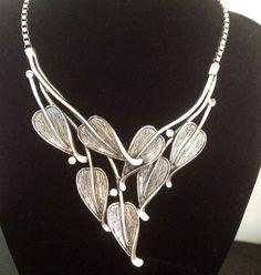 Big chunky silver leaf statement bib collar necklace £18.00 ebay suzie*1511 (2927)