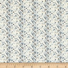 Blue Sky Canopy Brisk from @fabricdotcom  Designed by Edyta Sitar for Andover, this cotton print fabric features beautiful flowers and is perfect for quilting, apparel and home decor accents. Colors include cream, mustard, brown and shades of blue.