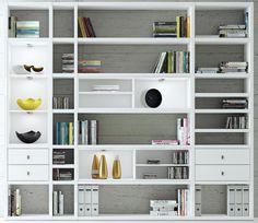 Das Bild zeigt das Toro Regalsystem für Bücher in weiß.