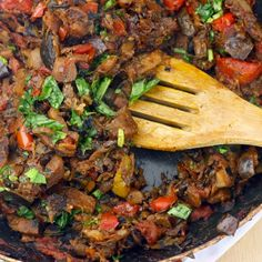 Healthy Ratatouille Recipe with onions, minced garlic, bell pepper, medium zucchini, eggplant, diced tomatoes, fresh thyme, bay leaf, salt, pepper, fresh basil