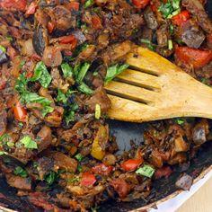 Healthy Ratatouille Recipe with onions, minced garlic, bell pepper, medium zucchini, eggplant, diced tomatoes, fresh thyme, bay leaf, salt, pepper, fresh basil