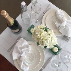 Diner en Blanc table dry run … Diner Table, All White Party, White Napkins, Mason Jar Lighting, Le Diner, Wonderful Things, Decoration, Table Settings, Floral Arrangement