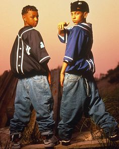 "1992: Totally Krossed Out ""Hey! Guys! Guys! What if we put them on backwards?"" Revolutionary. _Pop Culture Denim Timeline 26 Kriss Kross"