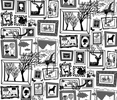 Norwegian Gallery fabric by melisza on Spoonflower - custom fabric Back To School Art Activity, Square Drawing, Wall Drawing, Custom Printed Fabric, Doodle Patterns, Black And White Drawing, Sketchbook Inspiration, Urban Sketching, Painted Paper