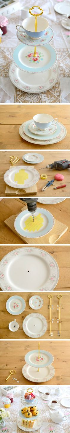 DIY Cake Stand with Plates and Teacup | Buzz Inspired