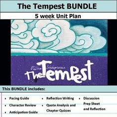 5 weeks of lesson plans. Includes pacing guide, film essay, activities, chapter quizzes, and discussions. This bundle has everything you need to get started teaching The Tempest by William Shakespeare in an engaging way!