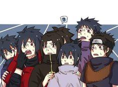 They look soo shocked? Maybe they saw future Sasuke being maried to Sakura. and they kind of saw her destructive power uchihas will now dominate genjutsu and refined chakra control ^-^ Madara Uchiha, Sarada E Boruto, Sasuke Sakura Sarada, Naruto Shippuden Sasuke, Kakashi, Narusasu, Anime Naruto, Naruto Cute, Naruto Funny