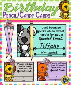 These set of cards are great to celebrate your students' special day.