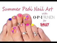 Neons make for the Perfect Summer Pedicure! Easy Toe Nail Art Tutorial - abstract nail design with @SallyBeauty products!  https://ooh.li/7f67786  #nailart #pedicure #SummerBeautySecrets