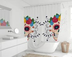 Mexican shower curtain Bathroom art Bohemian Art Bath | Etsy
