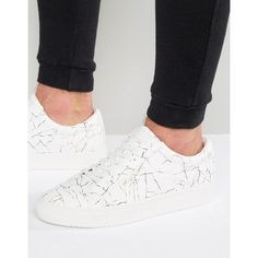 Religion Cracked Print Sneakers ($98) ❤ liked on Polyvore featuring men's fashion, men's shoes, men's sneakers, white, mens lace up shoes, mens leopard print shoes, mens white sneakers and mens white shoes