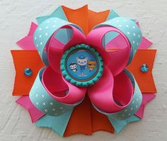 Octonauts Inspired Boutique Layered Hair Bow -Octonauts Birthday Hair Bow