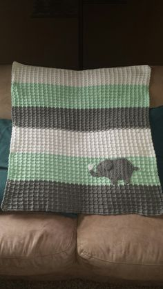 Waffle stitch baby blanket with an elephant applique!