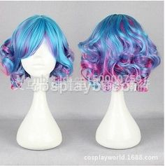 Lolita Fashion Girls Mixed Blue-Pink Color Short Curly Wig