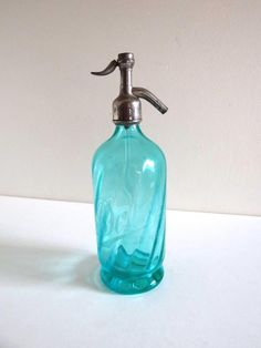 Siphon à eau de Seltz ancien bleu vert Jarnac
