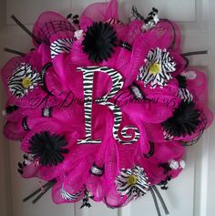 PERSONALIZED ZEBRA Deco Mesh WREATH by ADoorableCreations05
