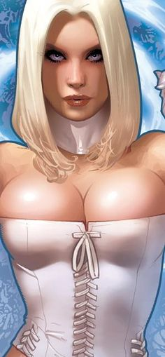 Emma Frost AH! art for Sideshow figure detail