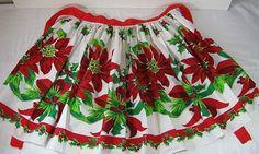 Vintage Christmas Apron Red Poinsettias Holiday Hostess Kitchen