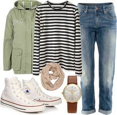 Untitled #193 by im-emma featuring high-top sneakersProenza Schouler long sleeve tissue tee / Hooded jacket / HM low rise jeans, $47 / Converse high top sneaker, $78 / Junghans white dial watch, $875 / Dorothy Perkins