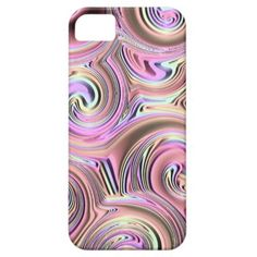 Chic Pastel Pink Blue Retro Spirals Swirls Pattern Apple iPhone SE + 5/5S case