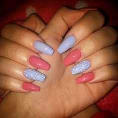 #nails #blue #red