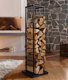 Creative Interior Design with Wood, 25 Firewood Storage Solutions : modern interior design and firewood storage ideas Small Apartment Storage, Small Apartment Decorating, Small Storage, Small Apartments, Small Spaces, Decorative Storage, Interior Decorating, Decorating Ideas, Firewood Stand