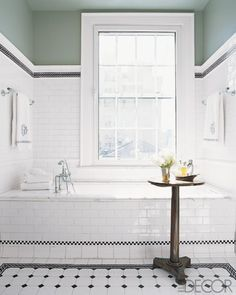 Beau Fantastic Images Of Home Interior Decoration With Octagon Tile Pattern :  Handsome Picture Of White Bathroom Decoration Using White Subway Tile  Bathtub ...