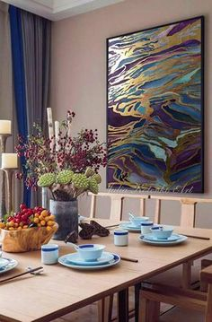Large Abstract Oil Painting Gold Leaf Painting Large Painting On Canvas Blue Painting Purple painting Original Painting by Julia Kotenko Purple Painting, Large Painting, Oil Painting Abstract, Painting Art, Geometric Painting, Painting Walls, Watercolor Painting, Art Plage, Grand Art Mural