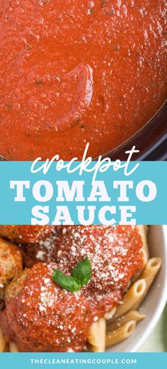 This Healthy Crockpot Tomato Sauce is an easy lighter twist on a classic Italian recipe. The slow cooker does all the work to make a delicious tomato sauce. Healthy Gluten Free Recipes, Healthy Crockpot Recipes, Healthy Meal Prep, Paleo, Whole30 Recipes, Easy Clean Eating Recipes, Easy Whole 30 Recipes, Healthy Dinner Recipes, Tomato Sauce Crockpot