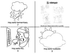Mini Spanish reading book. Learn how to say in Spanish how the weather is today. Colour and have fun.Como esta el tiempo hoy?