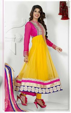 USD 81.96 Pink and Yellow Net Embroidered Anarkali Salwar Kameez 27244