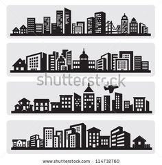 stock vector : vector black cities silhouette icon set on gray