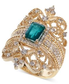Brasilica by EFFY Emerald (9/10 ct. t.w.) and Diamond (3/4 ct. t.w.) Ring in 14k Gold